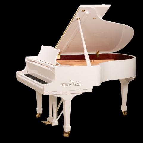 "Brodmann 6'2"" grand piano model PE 187 polished white"